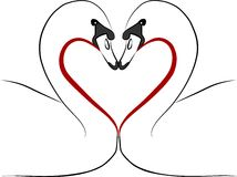 Love swans with red heart - freehand illustration Royalty Free Stock Photos
