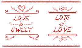 LOVE IS SWEET and LOTS of LOVE words, hand drawn VECTOR illustration, red lines Stock Photo