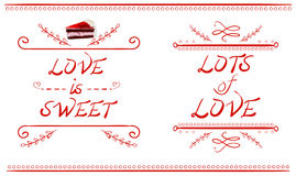 LOVE IS SWEET and LOTS of LOVE words, VECTOR cake slice, red lines isolated on white Stock Image