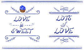 LOVE IS SWEET and LOTS of LOVE words, VECTOR cupcake, blue lines isolated on white Stock Photo