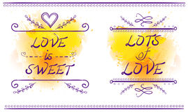 LOVE IS SWEET and LOTS of LOVE words, VECTOR illustration, purple lines on yellow splash Royalty Free Stock Photography