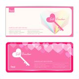 Love and sweet theme gift certificate, voucher, gift card or cas Royalty Free Stock Images