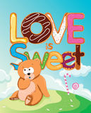 Love is Sweet. Valentine's day card with love is sweet phrase Stock Image