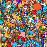 Love and sweets. Cute doodle seamless pattern. Love and sweets stock illustration