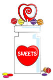 Love Sweets and jar stock illustration