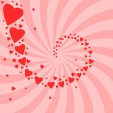 Love swirl. Romantic celebration background for Valentine's Day. Hearts and concentric rays backdrop. Love whirl Royalty Free Stock Photography