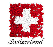 Love Switzerland. Flag Heart Glossy. With love from Switzerland. Made in Switzerland. Switzerland national independence day. Sport Stock Photography