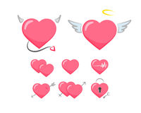 Love symbol. Collection of cute pink hearts stickers Stock Photography
