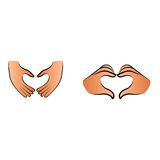 Love symbol by fingers. Heart shape or symbol made by hands Stock Image