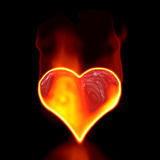 Love symbol in fire. Stock Photo