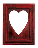 Love symbol hole on a red frame Stock Images