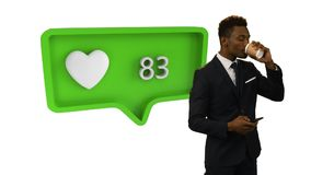 Love symbol and increasing numbers with man using smartphone. Animation of a green speech bubble with a heart symbol and increasing numbers from zero to one stock footage