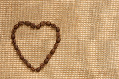 Love symbol made of coffee. Beans Stock Photos