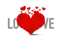 Love Symbol with Red Hearts. Vector Heart Isolated. On White Background vector illustration