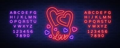 Love symbol vector. Neon sign on the theme of Valentine s Day. Flaming banner for greetings, leaflet, flyer. Bright Royalty Free Stock Images