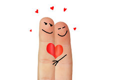 Love symbolized with two fingers Stock Photos