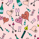 Love symbols Seamless pattern. Hand drawn doodles Vector illustration. Happy Valentine's day. Stock Images
