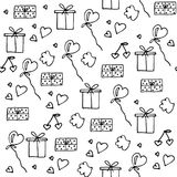 Love symbols Seamless pattern. Happy Valentine s day. Love symbols Seamless pattern. Hand drawn doodles Vector illustration. Can be used for scrapbooking Stock Images