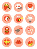 Love Symbols. Set of various round love symbols Stock Photo