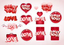 Love tag set. Vector 'Love' and 'Only you' text tag set vector illustration