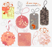 Love tags. A collection of love message tags Stock Images