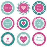 Love tags. Sweet cupcake toppers with hearts Royalty Free Stock Photography