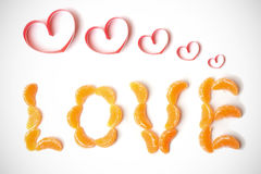 Love from tangerine segments Royalty Free Stock Photography