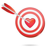 Love target. In one red heart, perfect match Royalty Free Stock Photography