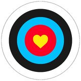 Love target. EPS vector illustration of heart shape in the centre of an aim target Stock Images