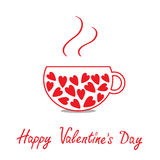 Love teacup with hearts. Happy Valentines Day card Stock Photos