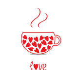 Love teacup with hearts. Love card Stock Images