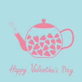 Love teapot with hearts. Happy Valentines Day card. Blue and pink Royalty Free Stock Photography