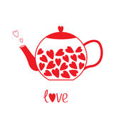 Love teapot with hearts. Love card Stock Images