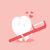 Love teeth and floss. Cute cartoon love teeth and floss with pink background Royalty Free Stock Images