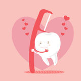 Love teeth and floss. Cute cartoon love teeth and floss with pink background Stock Photography