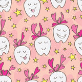 Love teeth seamless pattern. Illustration abstract love teeth star seamless pattern yellow pink color cartoon design graphic background Royalty Free Stock Image