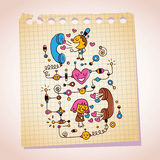 Love telephone conversation note paper cartoon illustration Royalty Free Stock Images