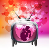 Love television. Retro TV set spreading love around Royalty Free Stock Images