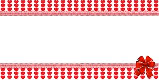 Love template with space for text and festive bow hearts backgro. Love template with  space for text and festive bow on red and white striped hearts background Royalty Free Stock Photos