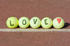 Love tennis word and heart shape Royalty Free Stock Images
