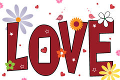 Love text background - vector. Illustration of a love text background,valentine theme, with flowers and two birds.EPS file available Royalty Free Stock Photography