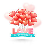 Love Text with Balloons for Valentine`s Day. 3D glossy Text Love with ribbon and Heart shaped balloons for Happy Valentine`s Day Celebration Royalty Free Stock Photography