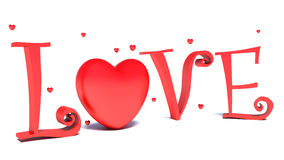 Love text and big red hearts on white background Royalty Free Stock Photo