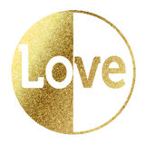 Love. Text in bright gold Royalty Free Stock Photo