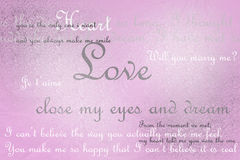 Love text Card on pink grunge background Royalty Free Stock Photography