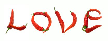 Love text composed of chili peppers Royalty Free Stock Photo