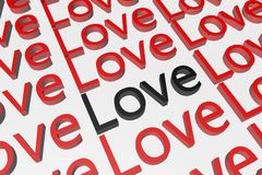 Love text in 3D Royalty Free Stock Photo