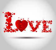 Love text design. Valentine's Day background with a kissing couple silhouette, heart shaped tree Stock Photo