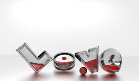 Love text. 3-dimensional glass text filled with blood / red liquid over a white/grey background, 3D illustration, raster illustration Royalty Free Stock Images