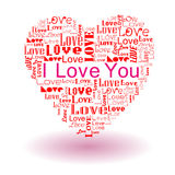 Love text in heart Royalty Free Stock Images